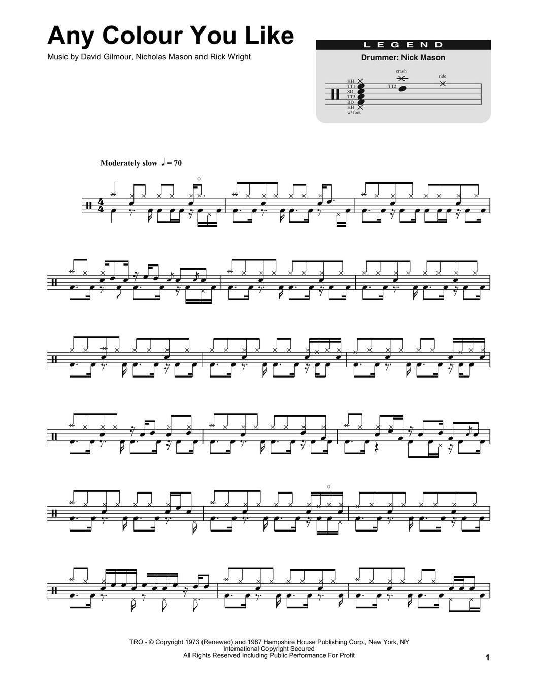 Any Colour You Like - Pink Floyd - Full Drum Transcription / Drum Sheet Music - SheetMusicDirect DT