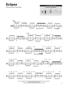 Eclipse - Pink Floyd - Full Drum Transcription / Drum Sheet Music - SheetMusicDirect DT