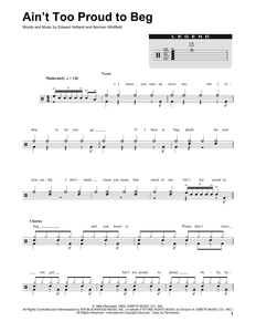 Ain't Too Proud To Beg - The Temptations - Full Drum Transcription / Drum Sheet Music - SheetMusicDirect DT