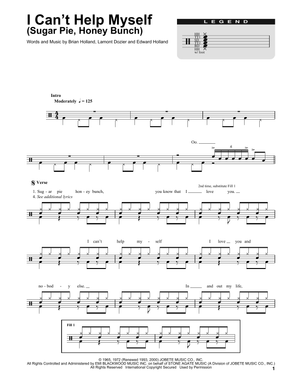 I Can't Help Myself (Sugar Pie, Honey Bunch) - The Four Tops - Full Drum Transcription / Drum Sheet Music - SheetMusicDirect DT