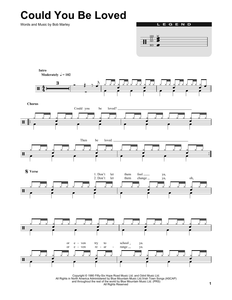 Could You Be Loved - Bob Marley - Full Drum Transcription / Drum Sheet Music - SheetMusicDirect DT