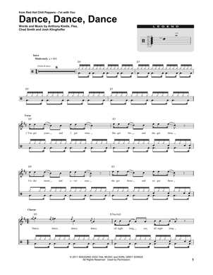 Dance, Dance, Dance - Red Hot Chili Peppers - Full Drum Transcription / Drum Sheet Music - SheetMusicDirect DT