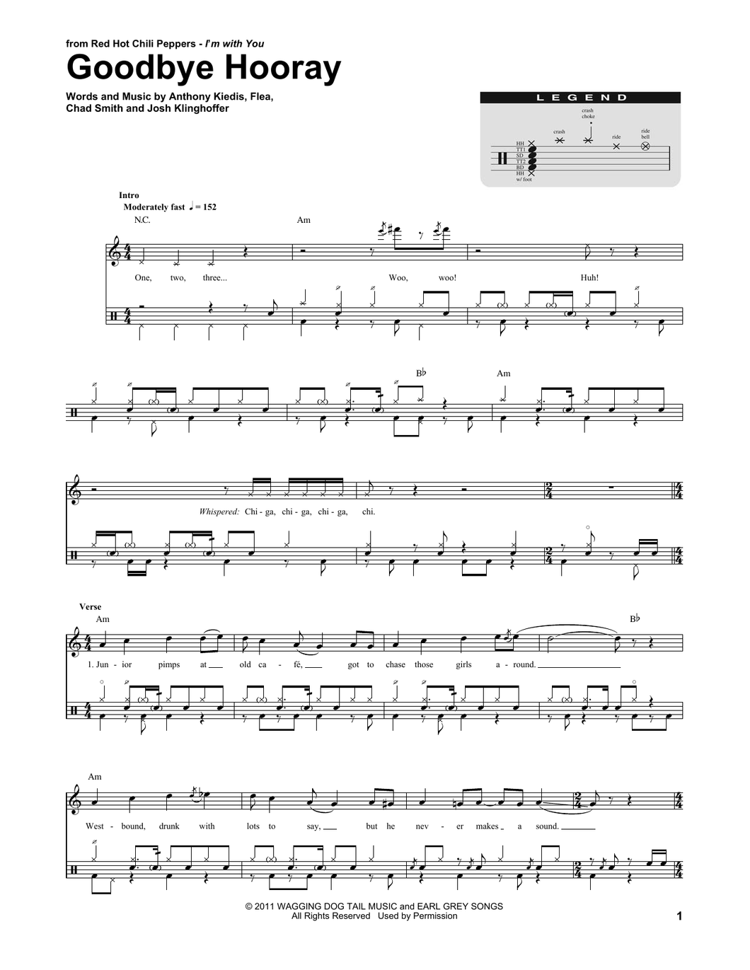 Goodbye Hooray - Red Hot Chili Peppers - Full Drum Transcription / Drum Sheet Music - SheetMusicDirect DT