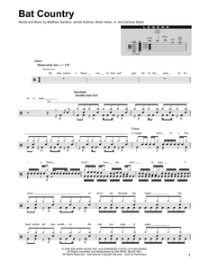 Bat Country - Avenged Sevenfold - Full Drum Transcription / Drum Sheet Music - SheetMusicDirect DT
