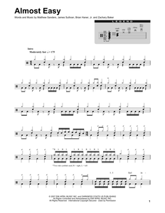 Almost Easy - Avenged Sevenfold - Full Drum Transcription / Drum Sheet Music - SheetMusicDirect DT