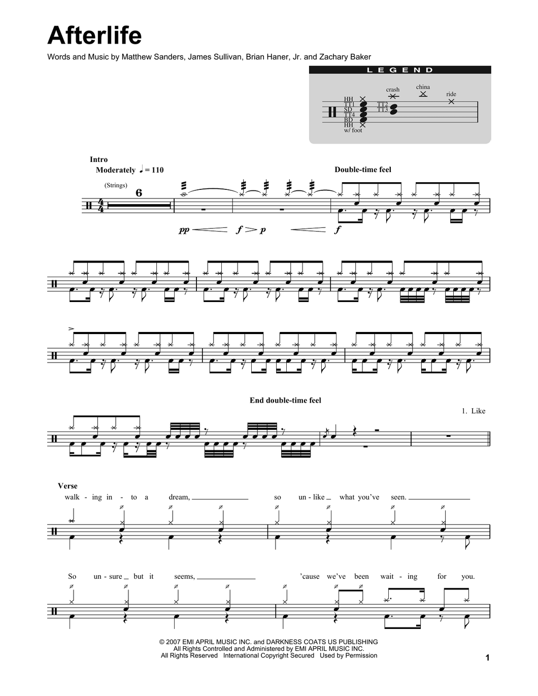 Afterlife - Avenged Sevenfold - Full Drum Transcription / Drum Sheet Music - SheetMusicDirect DT