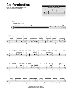 Californication - Red Hot Chili Peppers - Full Drum Transcription / Drum Sheet Music - SheetMusicDirect DT175520