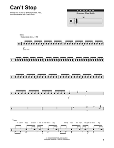 Can't Stop - Red Hot Chili Peppers - Full Drum Transcription / Drum Sheet Music - SheetMusicDirect DT