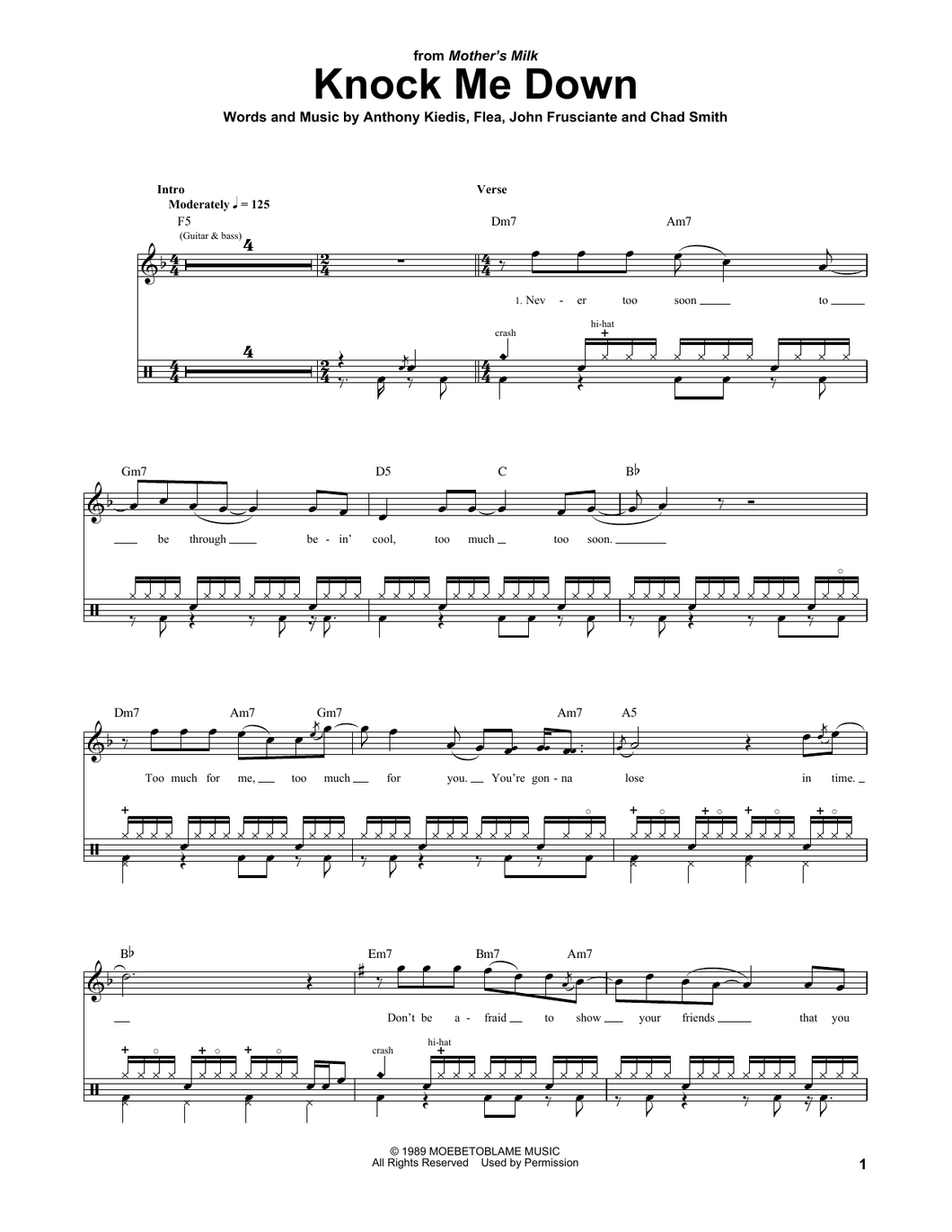Knock Me Down - Red Hot Chili Peppers - Full Drum Transcription / Drum Sheet Music - SheetMusicDirect DT