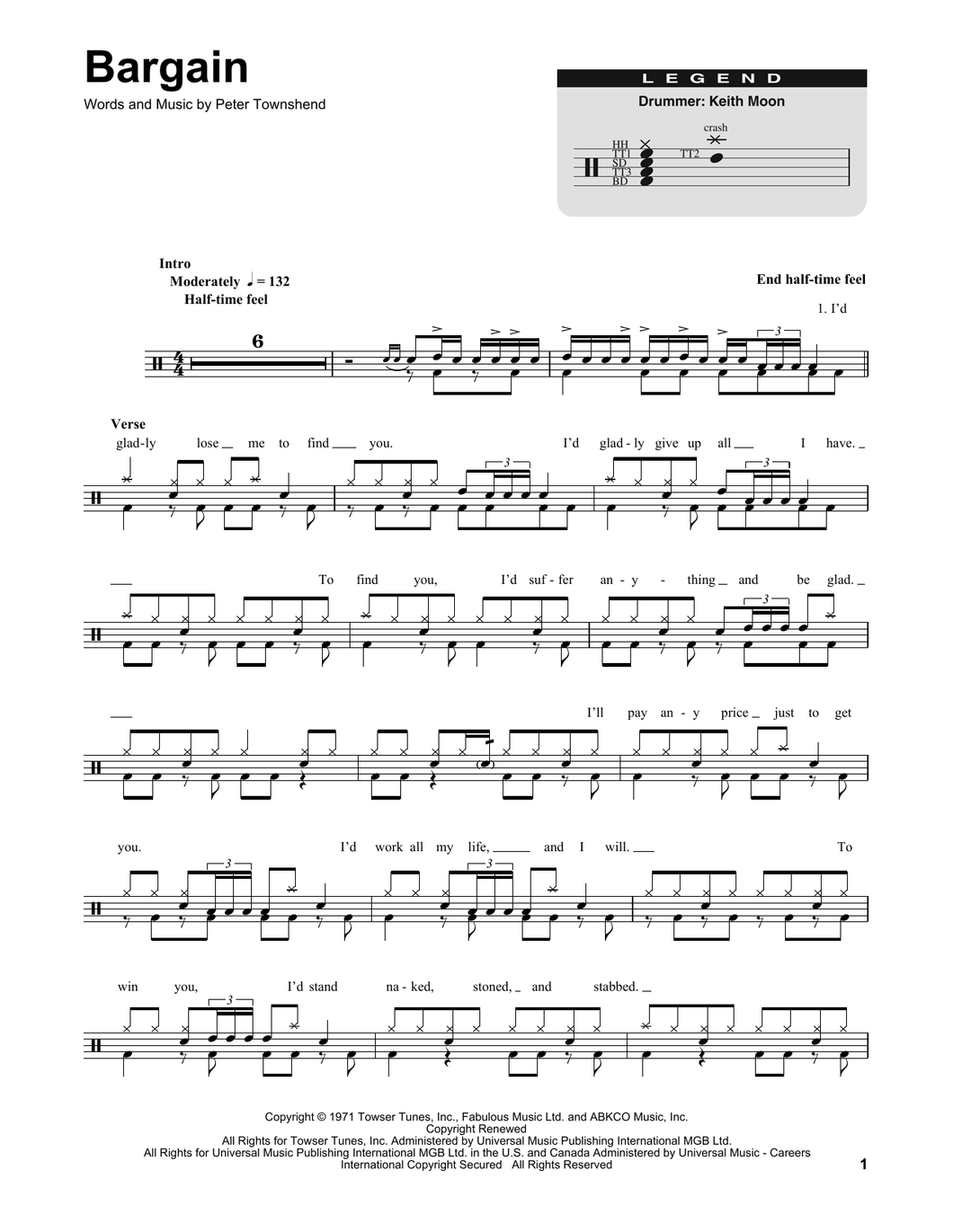 Bargain - The Who - Full Drum Transcription / Drum Sheet Music - SheetMusicDirect DT