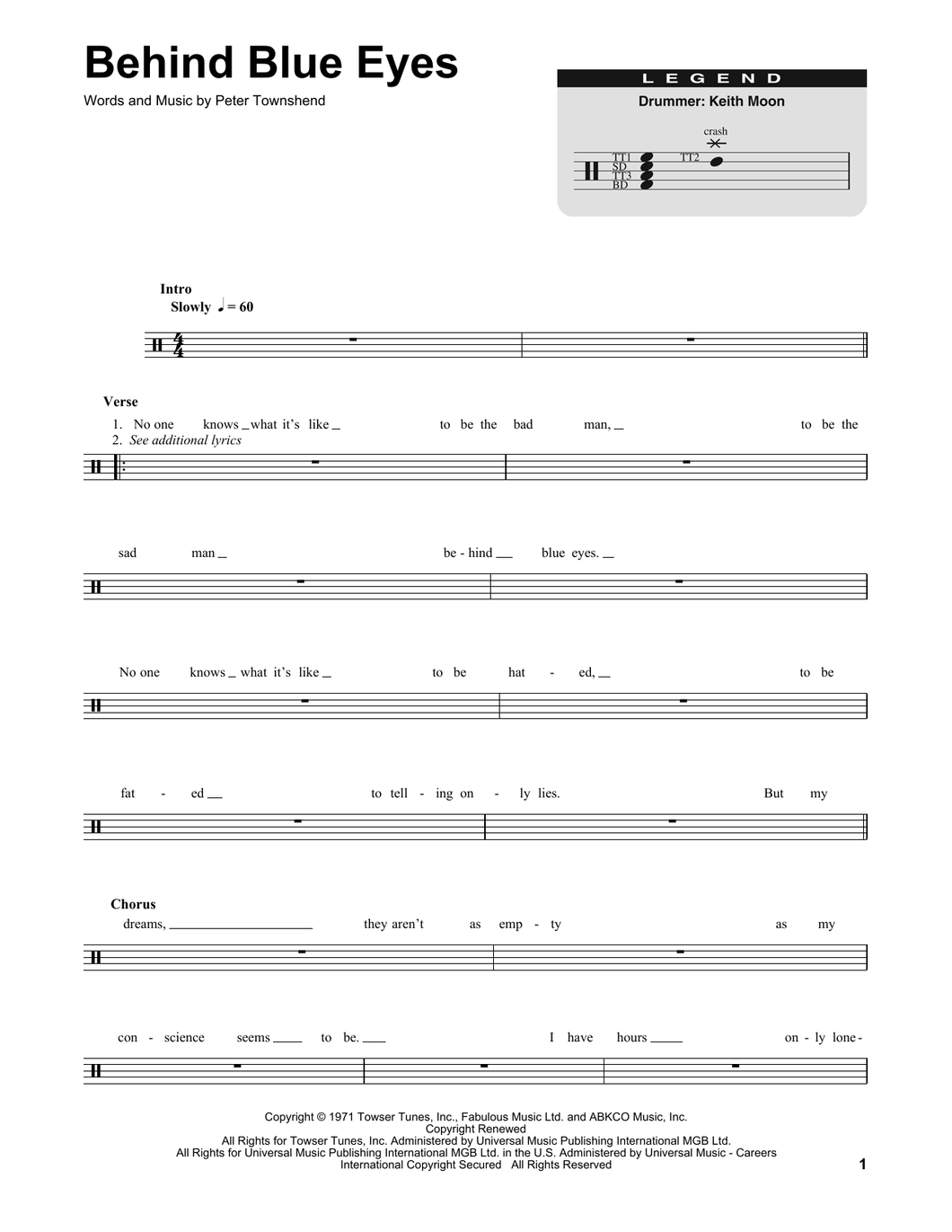 Behind Blue Eyes - The Who - Full Drum Transcription / Drum Sheet Music - SheetMusicDirect DT