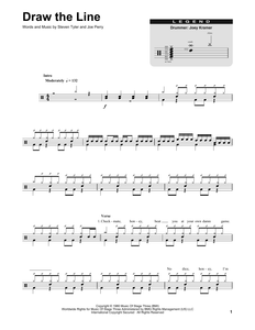Draw The Line - Aerosmith - Full Drum Transcription / Drum Sheet Music - SheetMusicDirect DT