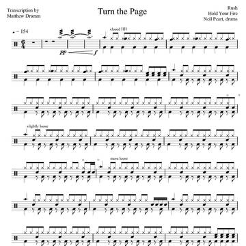 Turn the Page - Rush - Full Drum Transcription / Drum Sheet Music - Drumm Transcriptions