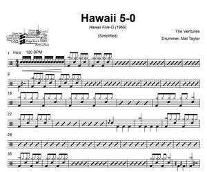 Hawaii 5-0 - The Ventures - Simplified Drum Transcription / Drum Sheet Music - DrumSetSheetMusic.com