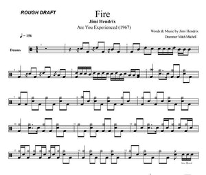 Fire - Jimi Hendrix - Rough Draft Drum Transcription / Drum Sheet Music - DrumSetSheetMusic.com