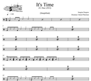It's Time - Imagine Dragons - Simplified Drum Transcription / Drum Sheet Music - DrumSetSheetMusic.com