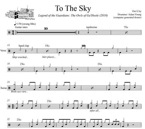 To The Sky - Owl City - Full Drum Transcription / Drum Sheet Music - DrumSetSheetMusic.com