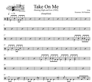 Take On Me - A-ha - Simplified Drum Transcription / Drum Sheet Music - DrumSetSheetMusic.com