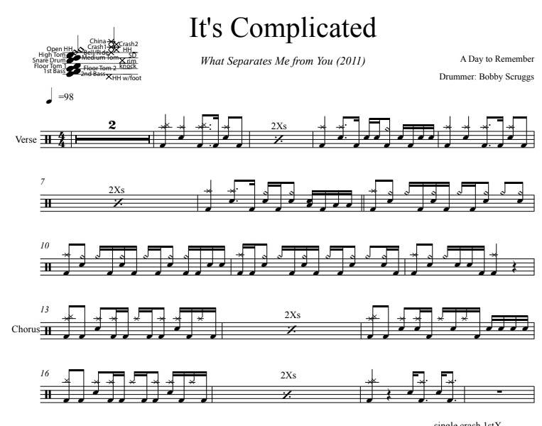 It's Complicated - A Day To Remember - Full Drum Transcription / Drum Sheet Music - DrumSetSheetMusic.com