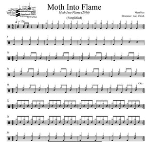 Moth Into Flame - Metallica - Simplified Drum Transcription / Drum Sheet Music - DrumSetSheetMusic.com