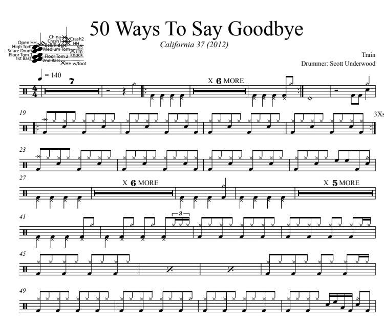 50 Ways To Say Goodbye - Train - Full Drum Transcription / Drum Sheet Music - DrumSetSheetMusic.com