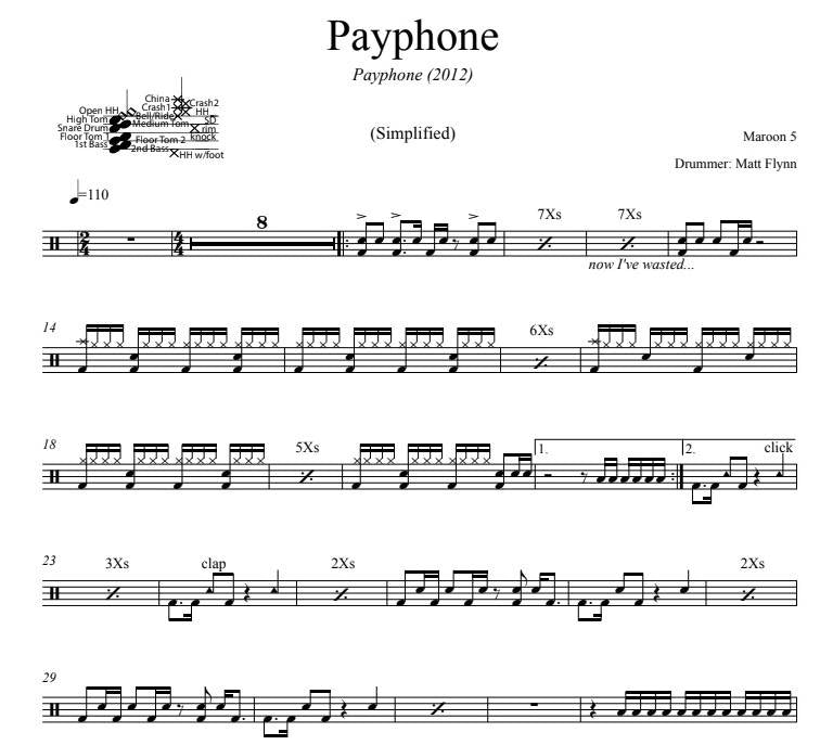 Payphone - Maroon 5 - Simplified Drum Transcription / Drum Sheet Music - DrumSetSheetMusic.com