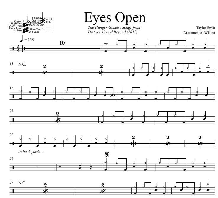 Eyes Open - Taylor Swift - Full Drum Transcription / Drum Sheet Music - DrumSetSheetMusic.com