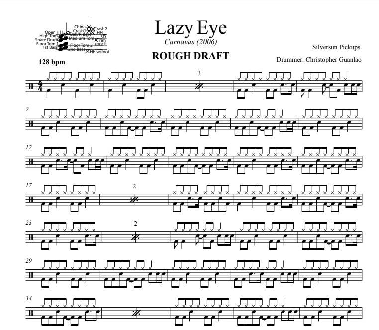 Lazy Eye - Silversun Pickups - Rough Draft Drum Transcription / Drum Sheet Music - DrumSetSheetMusic.com