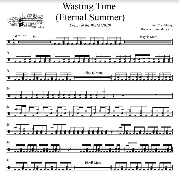 Wasting Time (Eternal Summer) - Four Year Strong - Full Drum Transcription / Drum Sheet Music - DrumSetSheetMusic.com