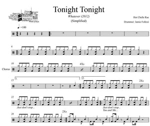 Tonight Tonight - Hot Chelle Rae - Simplified Drum Transcription / Drum Sheet Music - DrumSetSheetMusic.com