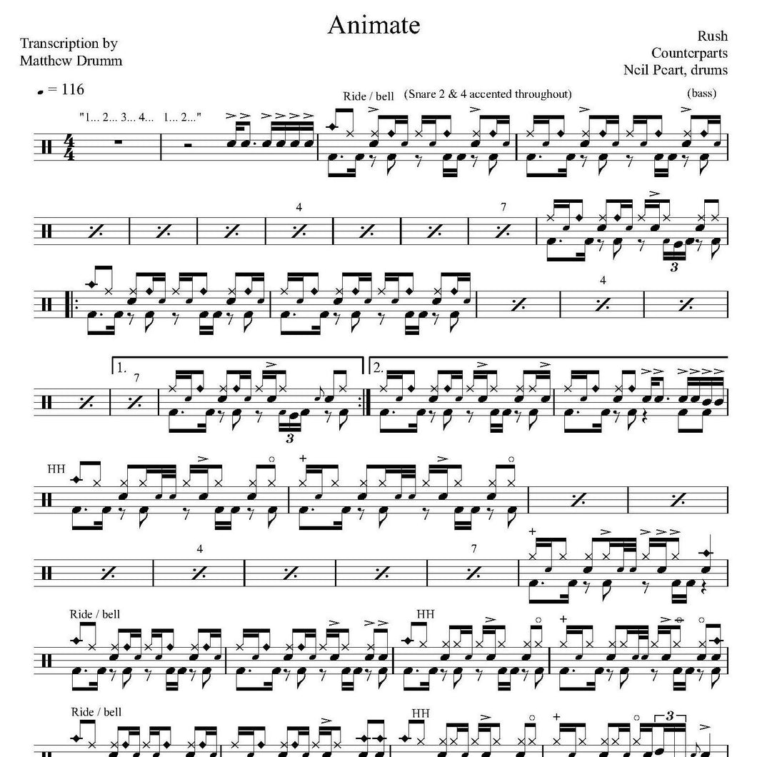Animate - Rush - Collection of Drum Transcriptions / Drum Sheet Music - Drumm Transcriptions