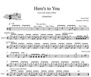 Here's to You - Rascal Flatts - Simplified Drum Transcription / Drum Sheet Music - DrumSetSheetMusic.com