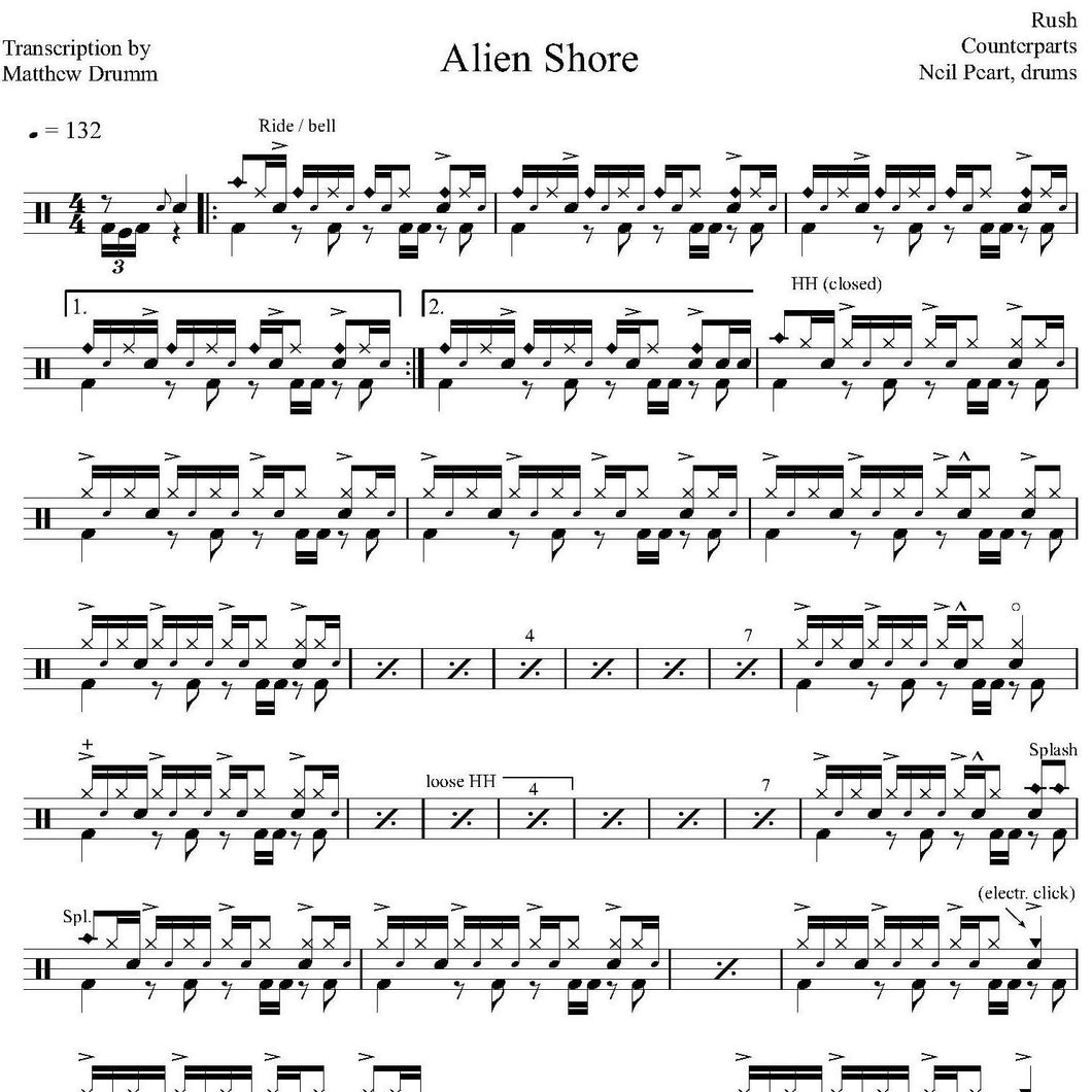 Alien Shore - Rush - Collection of Drum Transcriptions / Drum Sheet Music - Drumm Transcriptions