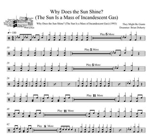 Why Does the Sun Shine? (The Sun Is a Mass of Incandescent Gas) - They Might Be Giants - Full Drum Transcription / Drum Sheet Music - DrumSetSheetMusic.com