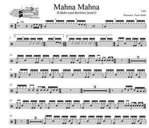 Mahna Mahna - Cake - Full Drum Transcription / Drum Sheet Music - DrumSetSheetMusic.com