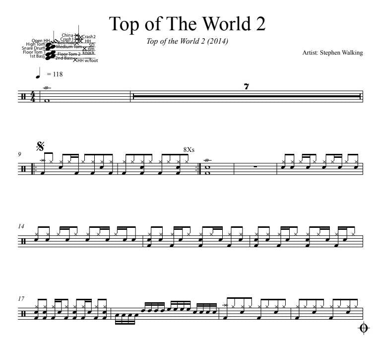 Top of The World 2 - Stephen Walking - Full Drum Transcription / Drum Sheet Music - DrumSetSheetMusic.com