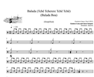 Balada (Tchê Tcherere Tchê Tchê) - Gusttavo Lima and Cássio Sampaio - Simplified Drum Transcription / Drum Sheet Music - DrumSetSheetMusic.com