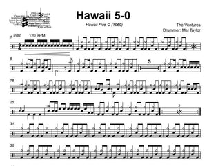 Hawaii 5-0 - The Ventures - Full Drum Transcription / Drum Sheet Music - DrumSetSheetMusic.com