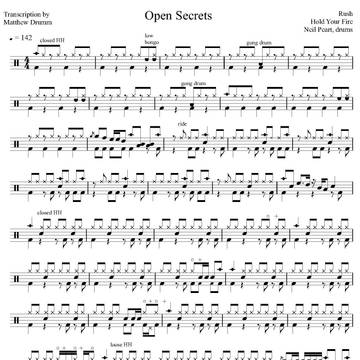 Open Secrets - Rush - Full Drum Transcription / Drum Sheet Music - Drumm Transcriptions
