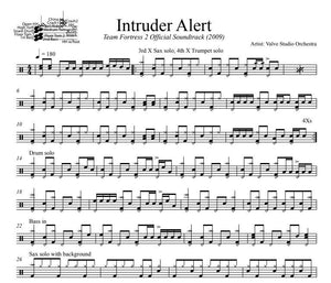 Intruder Alert - Valve Studio Orchestra - Full Drum Transcription / Drum Sheet Music - DrumSetSheetMusic.com