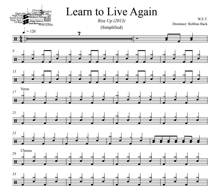 Learn to Live Again - W.E.T. - Simplified Drum Transcription / Drum Sheet Music - DrumSetSheetMusic.com