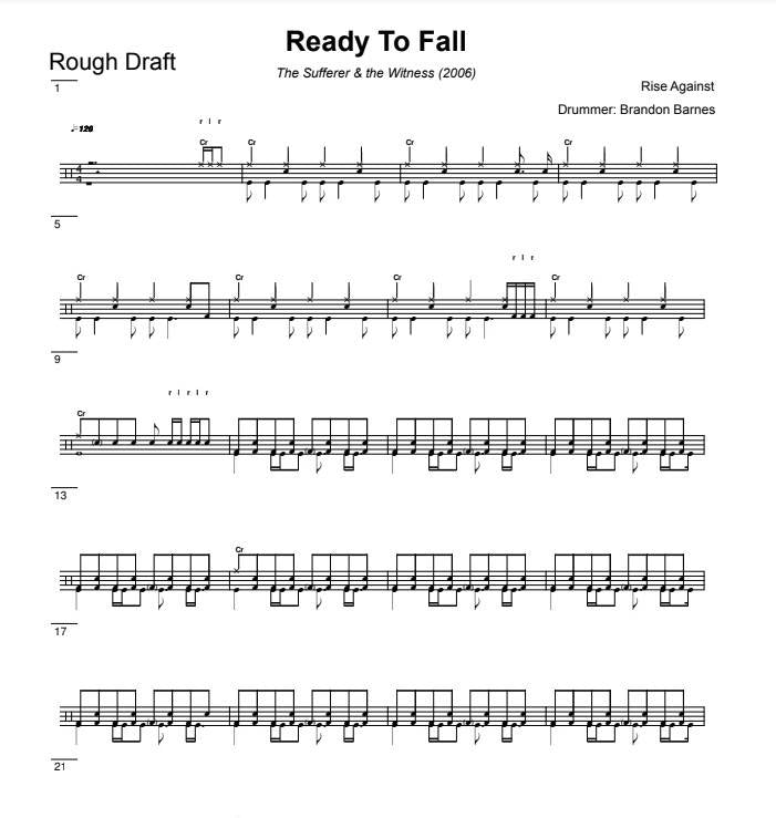 Ready To Fall - Rise Against - Rough Draft Drum Transcription / Drum Sheet Music - DrumSetSheetMusic.com