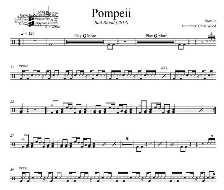 Pompeii - Bastille - Full Drum Transcription / Drum Sheet Music - DrumSetSheetMusic.com