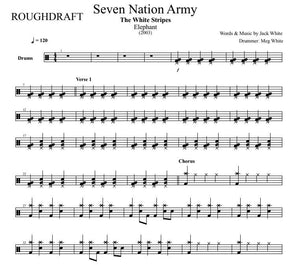Seven Nation Army - The White Stripes - Rough Draft Drum Transcription / Drum Sheet Music - DrumSetSheetMusic.com