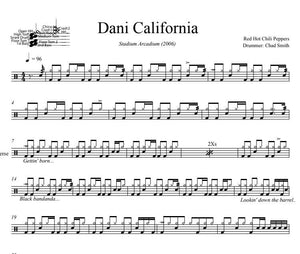 Dani California - Red Hot Chili Peppers - Full Drum Transcription / Drum Sheet Music - DrumSetSheetMusic.com