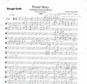Proud Mary - Creedence Clearwater Revival - Rough Draft Drum Transcription / Drum Sheet Music - DrumSetSheetMusic.com