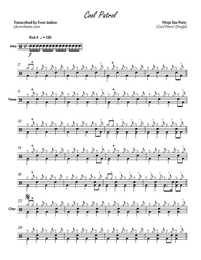 Cool Patrol - Ninja Sex Party - Full Drum Transcription / Drum Sheet Music - Jaslow Drum Sheets