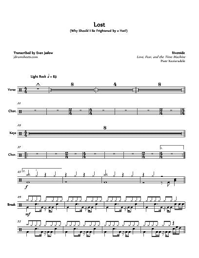 Lost (Why Should I Be Frightened by a Hat?) - Riverside - Full Drum Transcription / Drum Sheet Music - Jaslow Drum Sheets