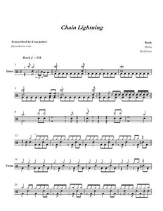 Chain Lightning - Rush - Full Drum Transcription / Drum Sheet Music - Jaslow Drum Sheets