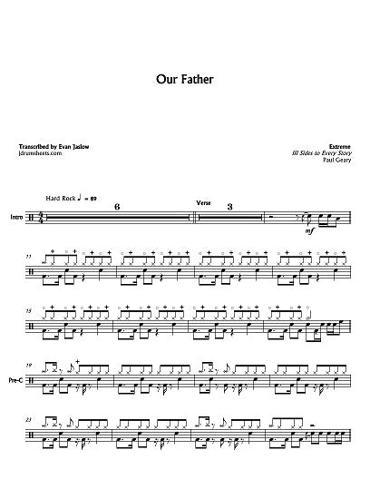 Our Father - Extreme - Full Drum Transcription / Drum Sheet Music - Jaslow Drum Sheets